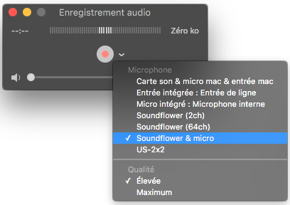 Enregistrement Quicktime