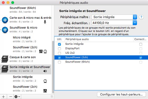 Sortie multiple : sortie intégrée et Soundflower